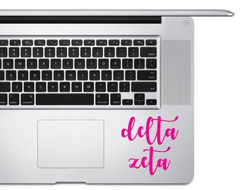Decal - Sorority Custom Vinyl Decal / Bumper Sticker / Laptop Sticker / Laptop Decal / Handwritten Calligraphy Script / Delta Zeta - Pink