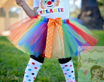 Rainbow TUTU Skirt Primary Colors With Bow Birthday ANY SIZE