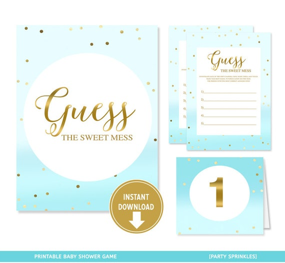 Sweet Sweet Baby Baby Shower Game: Blue & Gold Dots Confetti Boy Baby Shower