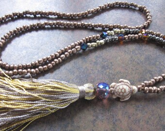 long beaded tassel necklace seed bead necklace turtle jewelry bohemian chic junk gypsies neutral boho yoga modern long beaded necklace
