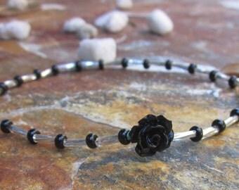bohemian beaded anklet glass beads black rose seed beaded ankle bracelet stretch anklet stackable yoga anklet ankle bracelet
