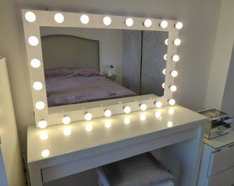 XL Hollywood vanity mirror- 43x27'' - makeup mirror with lights-Wall hanging/free standing-Perfect for IKEA Malm vanity -BULBS not included