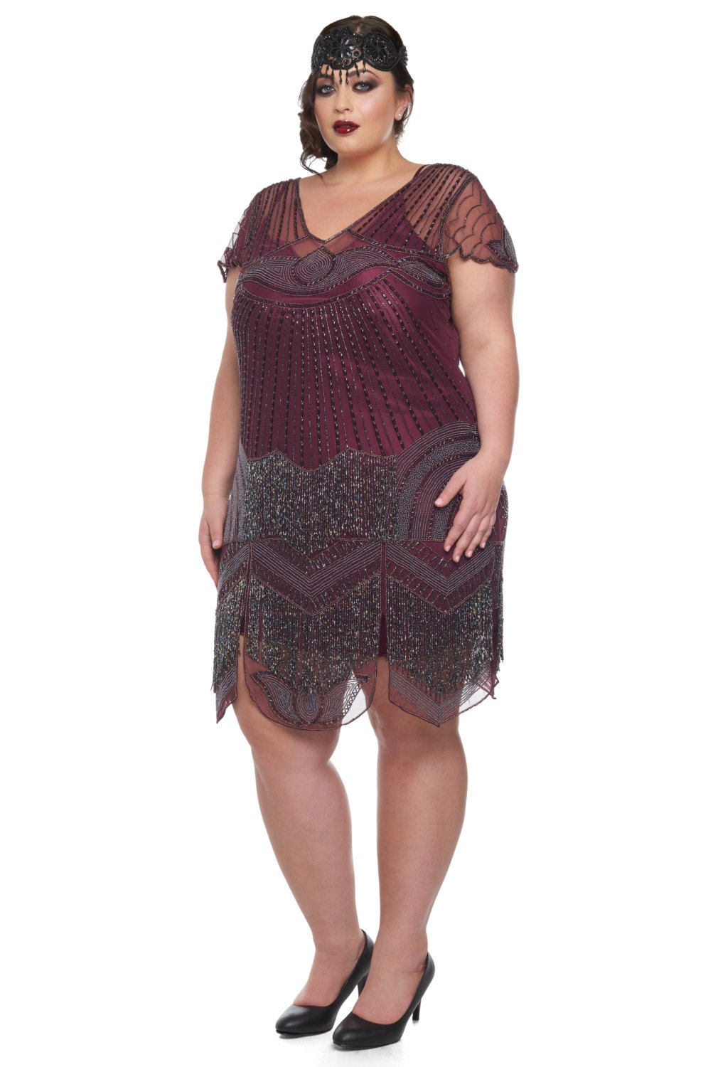 Plus size beatrice purple plum flapper dress slip included zoom ombrellifo Images
