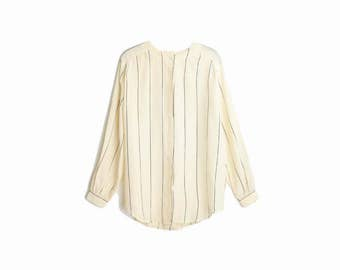 Vintage Striped Silk Blouse in Cream & Black / Long Sleeve Blouse - women's large