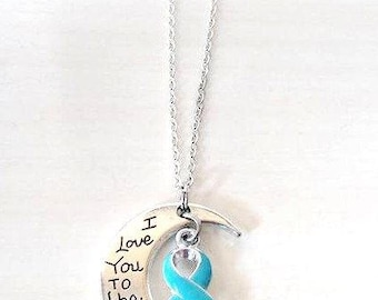Dysautonomia Awareness Ribbon I Love You To the Moon and Back Necklace You Select Chain Material and Length