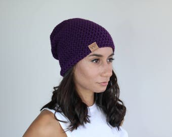 Purple - ACRYLIC Soft Light Weight Slouchy Beanie