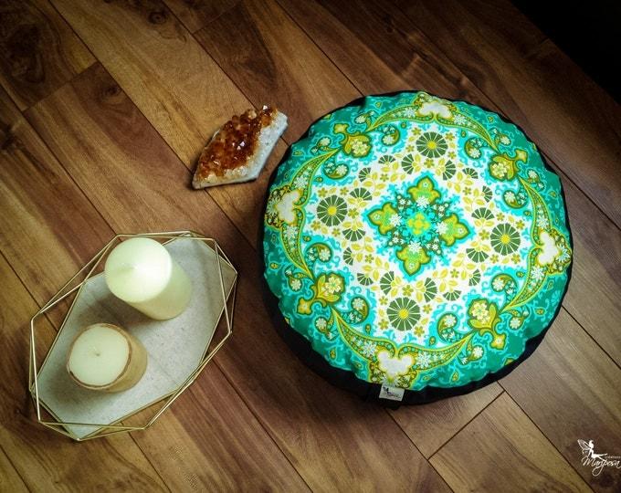 Pouf Zafu Spring Mandala Meditation cushion cotton organic Buckwheat washable floor pillow with lining handmade by Creations Mariposa ZP-MB