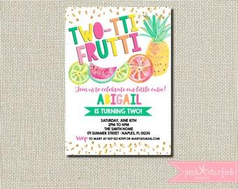 Tutti Frutti Invitation, Tutti Frutti Birthday Invitation, Two-tti Frutti Invitation, Tropical Birthday, Tropical Party, Tutti Frutti Party
