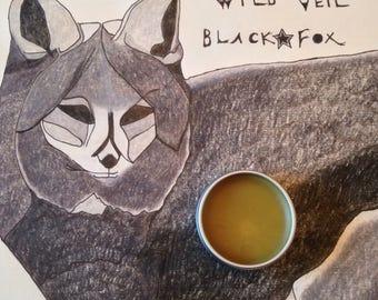 Black Fox • botanical fragrance. Black amber fougère with brisk camphor fur. Barrel of vanilla brandy under a thick coat of vetiver.