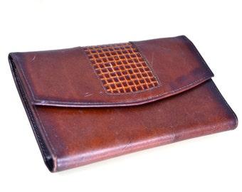 70s 80s NOS Princess Gardner Leather Wallet Women's Wallet Checkbook Wallet Chestnut Brown Leather w Basketweave Detail Coin Purse New Nice