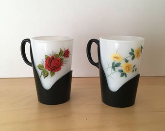 Pair of Tall Phoenix Opalware Glasses- Drink Up Style with Plastic Handles