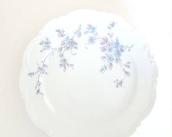 Mismatched China Luncheon Plate Blue Lavender  Floral Design For Wedding, Dinner Party, Replacement, Bridal Shower, Collectable, Luncheon,