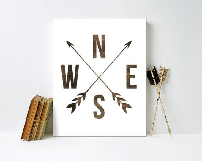 Nursery Art, Directional Arrows, Wood, Rustic, Arrows,  Framed, Canvas, Art Print #569