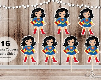 Superhero Girl Party - Set of 16 Supergirl Inspired Double Sided Cupcake Toppers
