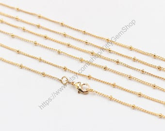 "16-24"" Satellite Chain Gold Plated Necklaces -- With Losbter Clasp Wholesale Bulk Sale Craft Supply Gold Plated Accessory Charm CQA-073"