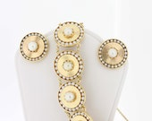 14K Gold Pearl Bracelet with Matching Clip Earrings
