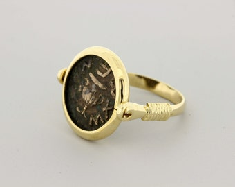 18K Gold Ancient Coin Ring