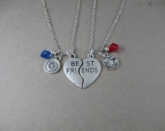 Captain America Best Friends Charm Necklace Set - Steve Rogers - Bucky Barnes - Silver Charms