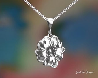"""Sterling Silver Poppy Necklace with 16-24"""" Chain or Pendant Only .925"""