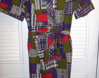 Dress 12, Shirtdress 12, Cotton Patchwork Garden Shirtdress Shift Sheath Size 12 see details