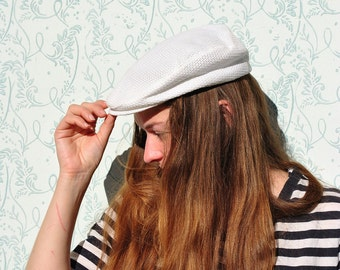 Golf cap, vintage golf cap, white golf cap, white sport cap, mens sport cap, white driving cap, flat cap