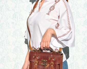 Leather bag, womens leather bag, leather crossbody bag, womens crossbody bag, brown leather bag, small leather messenger