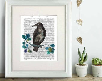 Floral Crow - raven print crow poster bird illustration rook picture gothic decor black bird decor halloween decor wall art print