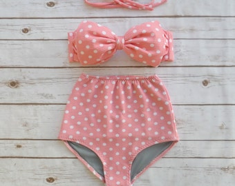 High Waist Retro Bow Bikini - Vintage Style Bathing Suit Swimwear - Cute Coral Pink White Polka Dot Spotted Print Glamorous Pinup Swimsuit
