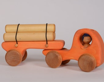 Orange logging truck, wooden truck, truck by l'Atelier Cheval de bois