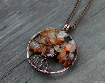 Tree of life pendant Copper jewelry  Wirewrapped jewelry  Family Tree  WireWrapped Pendant  Wirewrap necklace  Tree-Of-Life  wirewrap tree