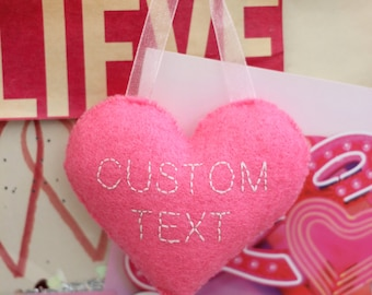 Home decor hanging heart plushie CUSTOM - made to order with your choice of words