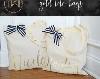 Bridesmaid Tote Bags - Gold Personalized Tote Bag - Bridal Party Tote Bags - Personalized Bridesmaid Bags - Bridesmaid Gift Bags