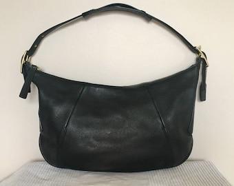 Vintage COACH Black Leather Ergo Legacy Shoulder Bag Hobo Purse