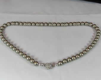 Swarovski Platinum Pearl Necklace with Magnetic Pave Heart Closure/ Handmade/ Hand Crafted/ Mother of the Bride/ Bridal Party Jewelry