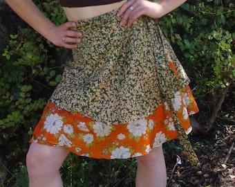 Wrap Around Skirt Ethnic Tribal Gypsy Skirt Fairy Clothing Hippie Skirt Mini Skirt Boho Skirt Short Skirt Elven Clothing Silk Skirt Dress
