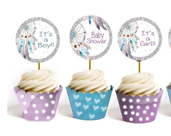 Cake topper Baby Shower Cake topper Printable Boy or girl Cake Topper Favor tags Purple, blue Boho Cake Topper Baby shower stickers Labels