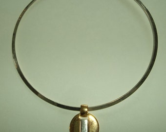 Silver & Gold tone Choker with Pendant