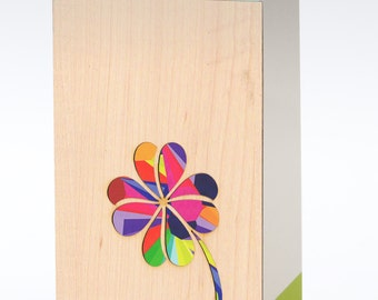 Flower Card, Holiday Cards, Blank Cards, Clover Blank Greeting Cards, Note Card, Design Cards, Greeting Cards with Envelope, Wood Cards