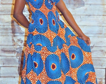 African print gypsy maxi dress in blue and orange hues.