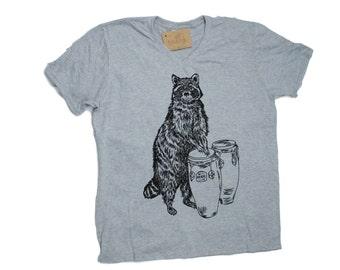 T Shirts for Men - Mens Funny Tshirt - V Neck TShirt - Raccoon TShirt - Funny TShirts - Hipster Mens T Shirt - Mens Gift Boyfriend Gift Idea