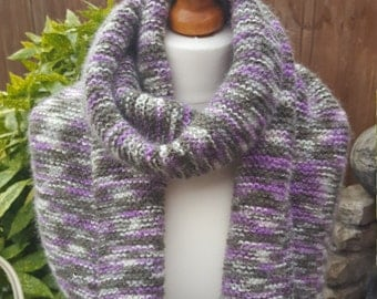 Wool, Mohair  & Acrylic scarf, knitted neck warmer