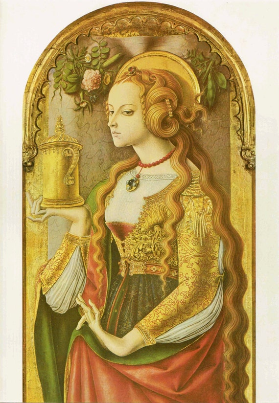 Vintage print of Mary Magdalene, painted by Carlo Crivelli in 15th century, beautiful details, matted & mounted, 11 x 14 ins, published 1966