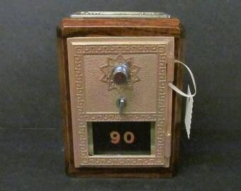 Antique US Post Office Box Door Bank w/ Dark Oak Case Circa 1960