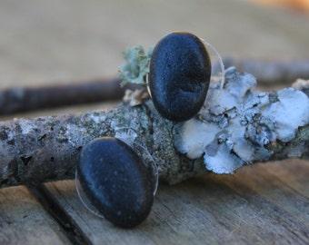 Lake Superior stone post earrings, Northwoods jewelry, river rock stud earrings, beach stone, black rock earrings, rock jewelry, Great Lakes