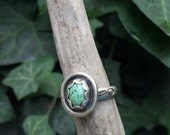 Kingman Turquoise Ring with Stamped Band - Size 8.25 - Silver Handmade