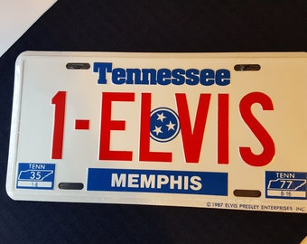 Elvis Souvenir License Plate 1987  1-Elvis
