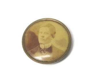 Antique Portrait Brooch Handsome Gentleman