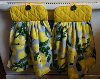 Lemon Kitchen Towel,  Fruit Kitchen Decor, Spring Towel, Lemon Lovers, Lemon Decor, Lemon Kitchen Potholder Towel Set
