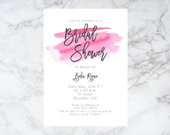 Watercolor Bridal Shower Invitation, Printable Bridal Shower Invitation, Watercolour, Template, download, Bridal Shower Invite