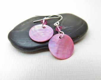 Pink Mussel Shell Earrings - Sweet Sixteen Jewelry, Pink Shell Earrings, Pink Earrings, Shiny Shell Earrings, Pink Swarovski Crystal Earring